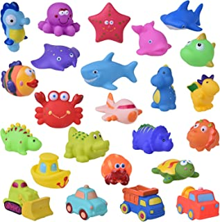 24 PCs Bath Toys for Toddlers, Sea Animals Squirter Toys Kids, Car Squirter Toys Boys, Bath Toy Organizer Included Kids Party Favors, Goodie Bag fillers
