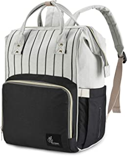 R for Rabbit Caramello Diaper Bags Backpack for Mothers/Mom for Travel-Multi-Function Waterproof,Large Capacity, Durable and Stylish. (Black Strips)