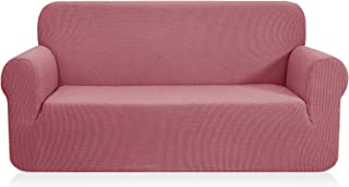 CHUN YI 1-Piece Jacquard High Stretch Sofa Cover, Polyester and Spandex 3 Seater Cushion Sofa Slipcover Coat, Furniture Protector for Couch and Sofa (Sofa, Coral Pink)