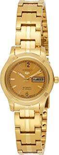 Seiko Women's SYME02 Seiko 5 Automatic Gold Dial Gold-Tone Stainless Steel Watch
