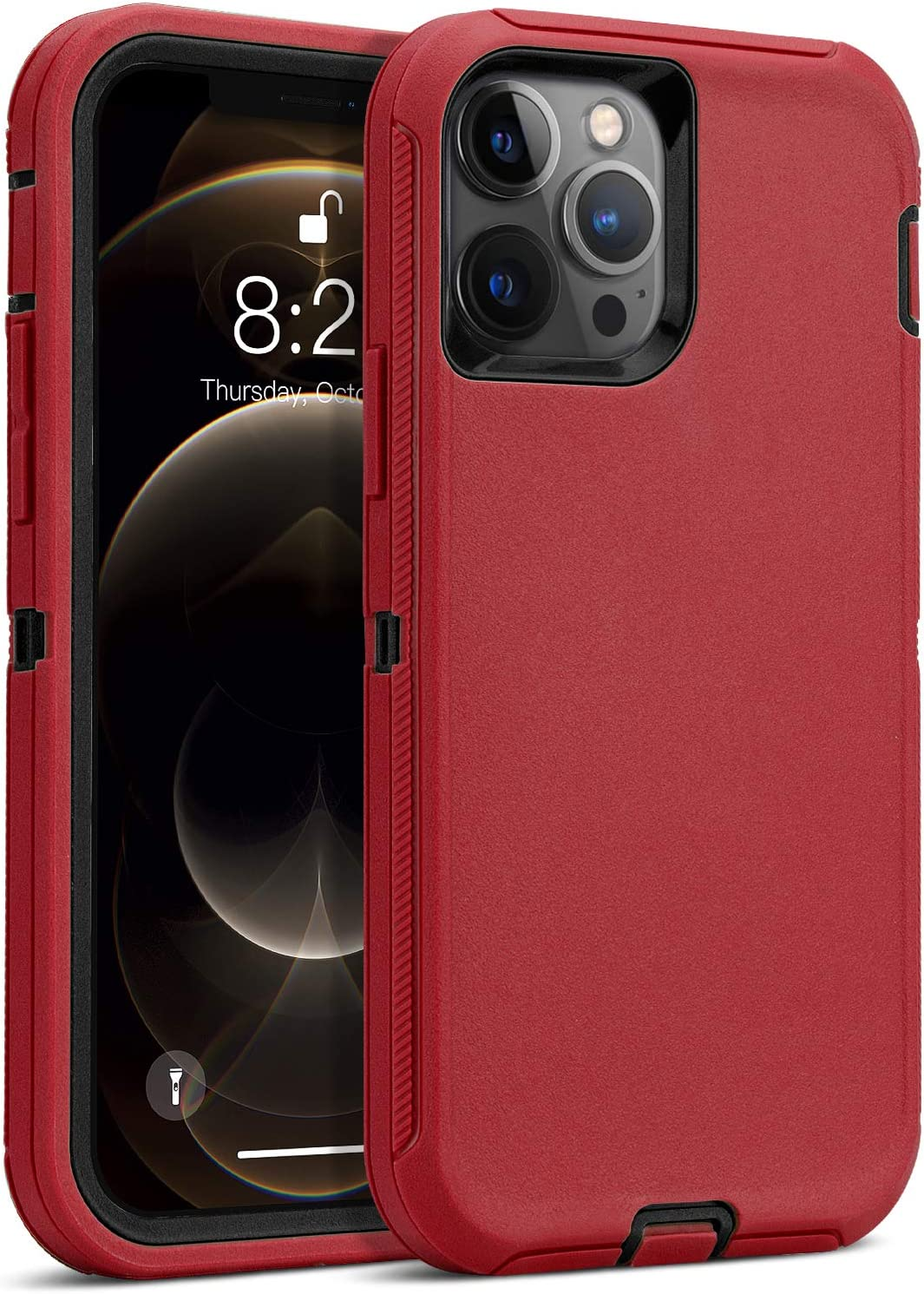 MAXCURY Case Compatible for iPhone 12 Pro, Heavy Duty Shock Absorption Full Body Protective Silicone Rubber with Hard PC Phone Case Cover Both Compatible for iPhone 12 & iPhone 12 Pro(Red/Black)