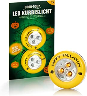 COM-FOUR® 2x LED-licht voor Halloween - Knipperende Pompoen LED-verlichting voor uitgesneden en uitgeholde pompoenen - Pom...