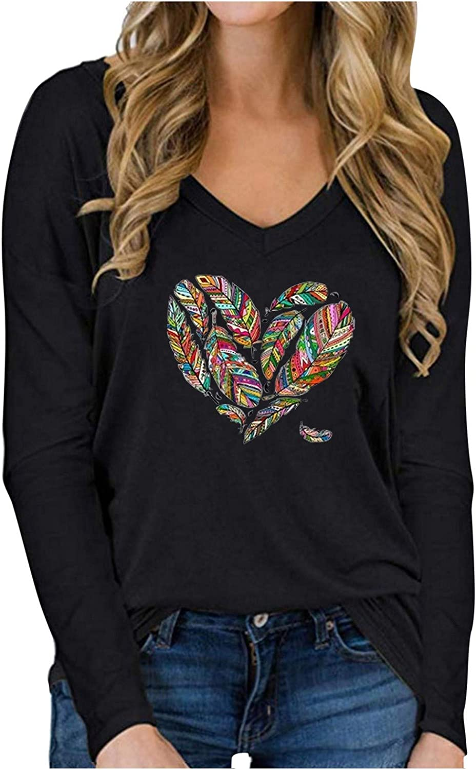 HGWXX7 Womens Tops V Neck Floral Print T-Shirts Plus Size Long Sleeve Lightweight Pullover Tunic Blouse