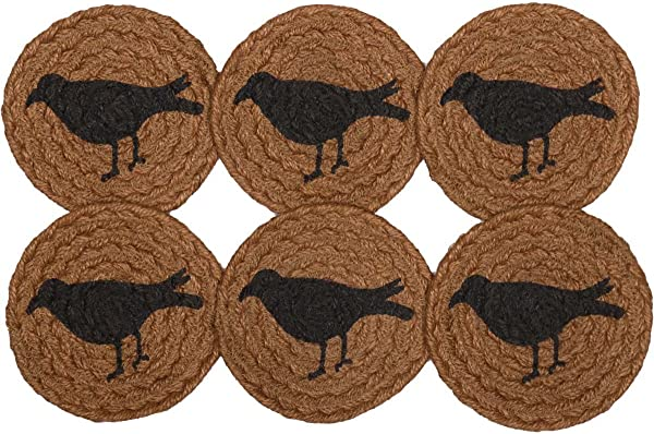 VHC Brands Primitive Tabletop Kitchen Settlement Crow Jute Stenciled Nature Print Round Coaster Set Of 6 Mustard Tan Yellow