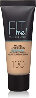 Maybelline New York Base de Maquillaje Fit Me (Mate y Sin poros) Tono 130 Buff Beige - 30 ml