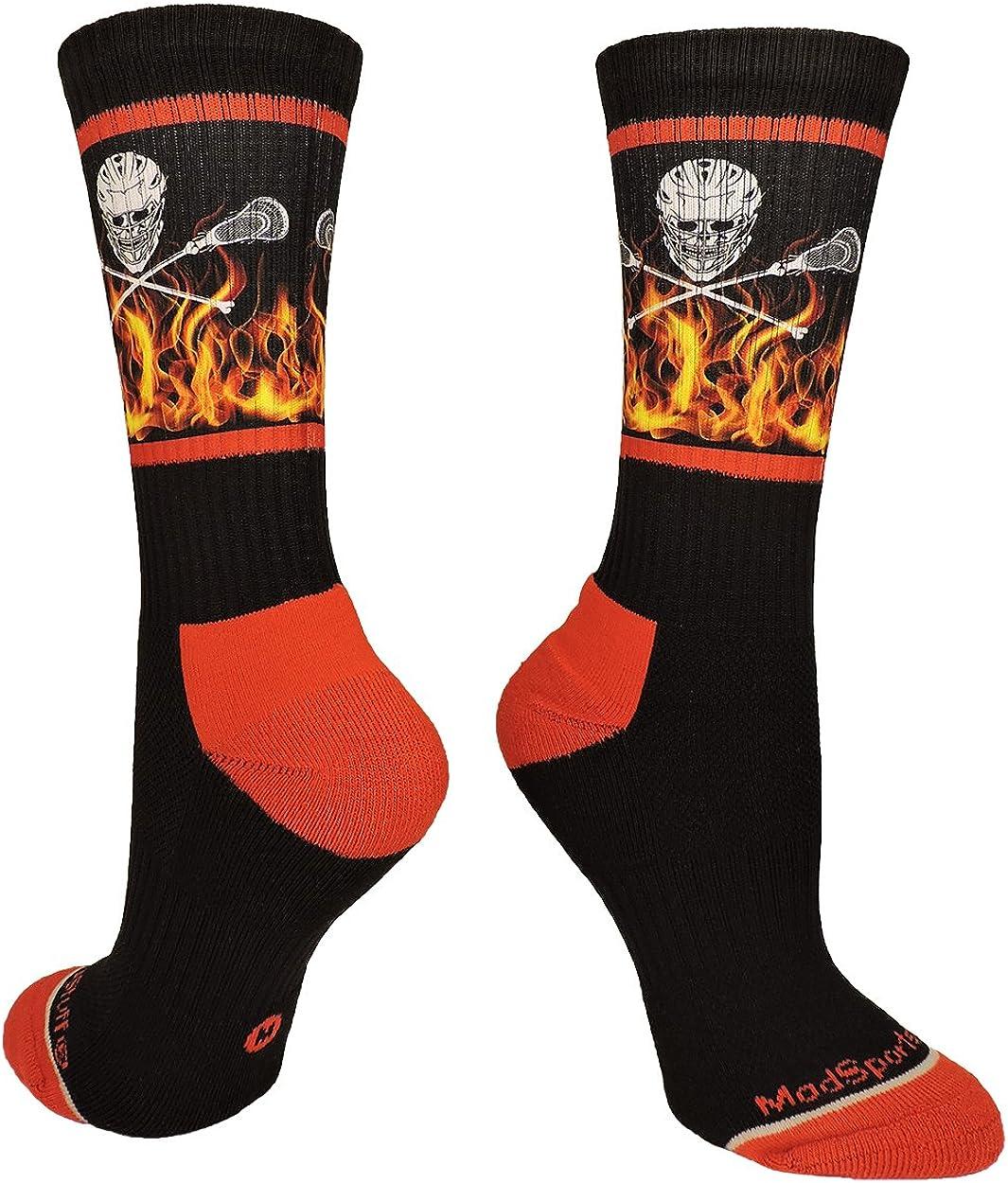 MadSportsStuff Lacrosse Socks with Lacrosse Sticks and Flaming Skull Athletic Crew Socks