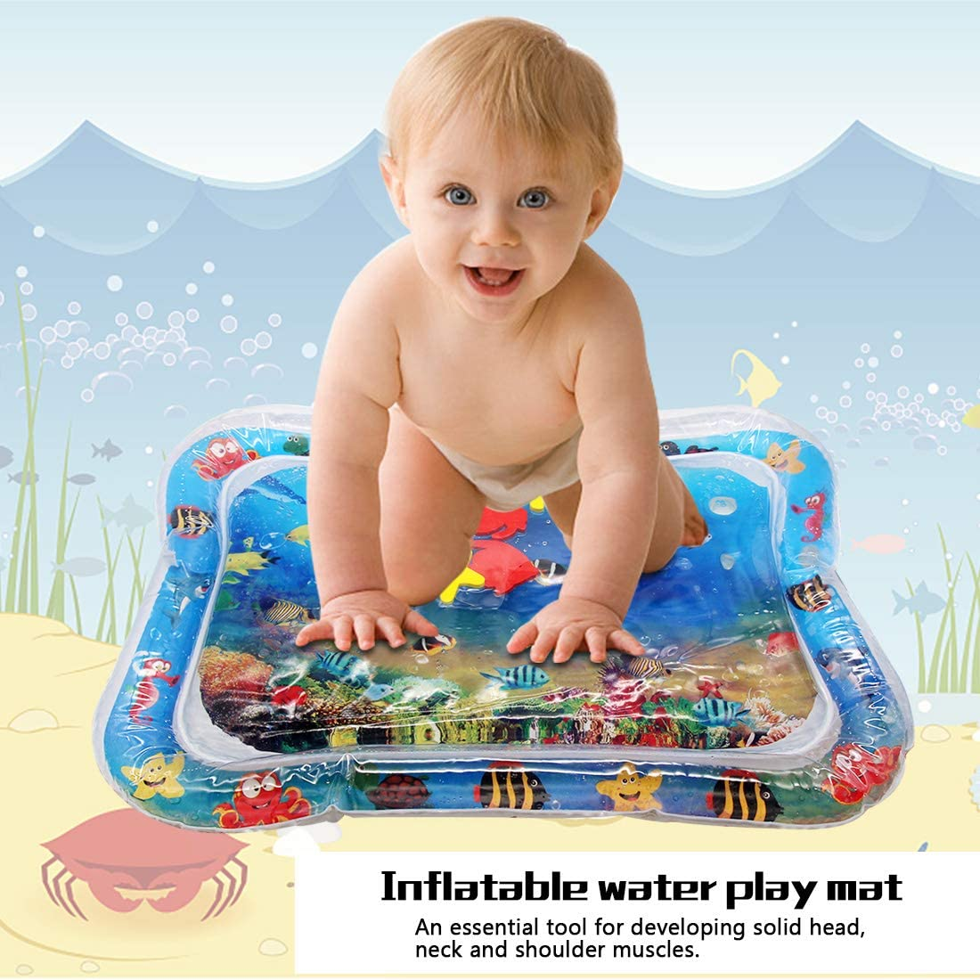 Together-life Inflatable Water Play Mat Activity Play Center Tummy Time Playmat for Newborns Infants Children Stimulation Growth