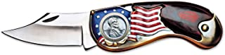American Flag Coin Pocket Knife with 1943 Lincoln Steel Penny | 3-inch Stainless Steel Blade | Genuine United States Coin | Collectible | Certificate of Authenticity