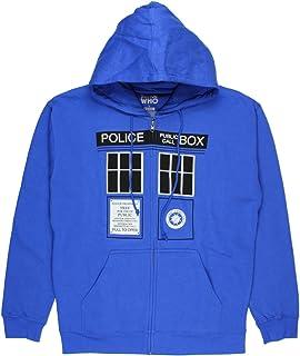Doctor Who Classic Mens Zip Hoodie Tardis Doors Black Window