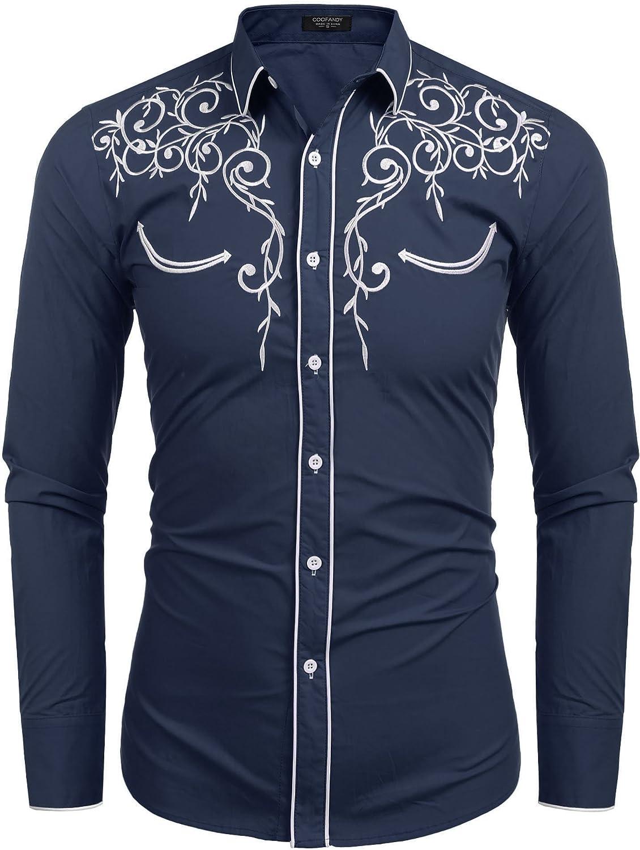 381a80d813a9 JINIDU Men's Long Sleeve Shirt Shirt Shirt Embroidery Slim Fit Casual  Button Down Retro Shirts 3fbd1b