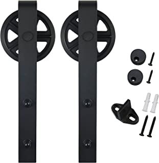 SMARTSTANDARD Sliding Barn Door Hardware Rollers 2PCS (Black) (Big Industry Wheel Hangers)