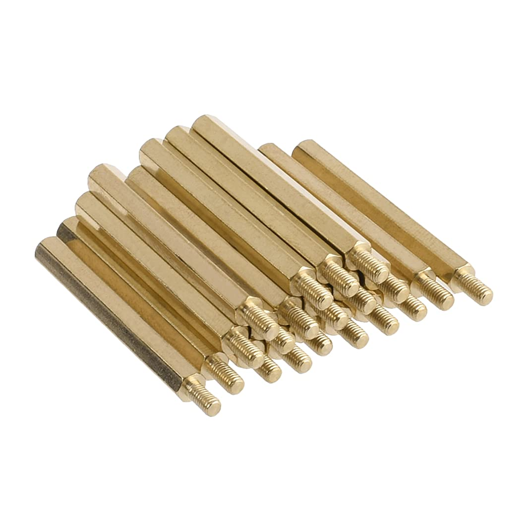 Bluecell 20pcs M3 Male to M3 Female 40mm Screw Thread PCB Brass Screw Hexagonal Stand-off Spacers