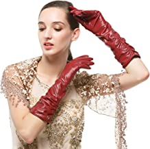 long burgundy leather gloves