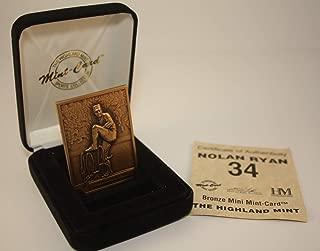 NOLAN RYAN 1996 Highland Mint Mini BRONZE METAL Card Limited Edition & Numbered