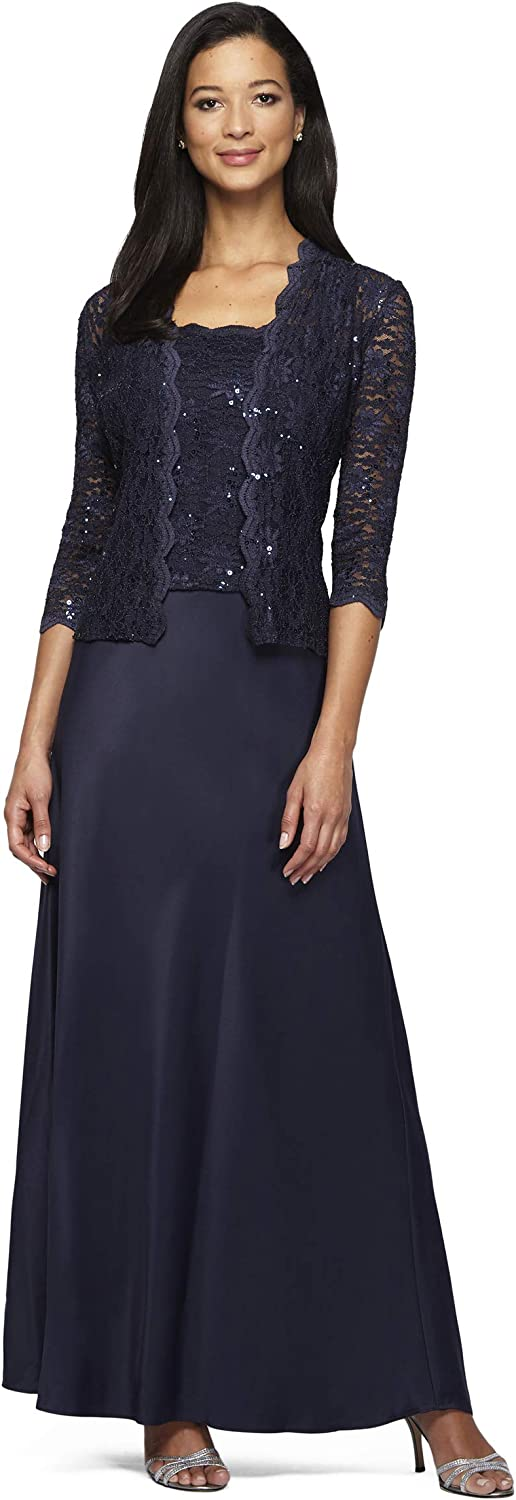 Alex Evenings Womens Two Piece Dress with Lace Jacket Dress