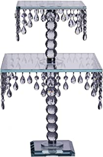 BalsaCircle 21-Inch Tall Clear Crystal Glass Square Cake Stand - Birthday Party Wedding Dessert Display Pedestal Centerpiece Riser