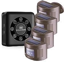 eMACROS 1/2 Mile Long Range Solar Wireless Driveway Alarm Weatherproof Driveway Alarms Wireless Outside Sensor&Detector Se...