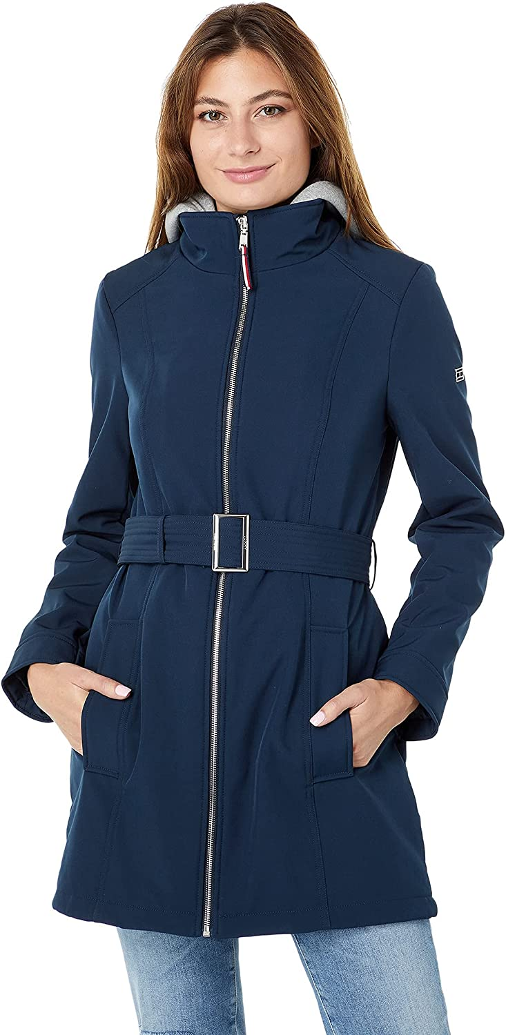 Tommy Hilfiger Softshell Jacket with Jersey Lined Hood and Belt