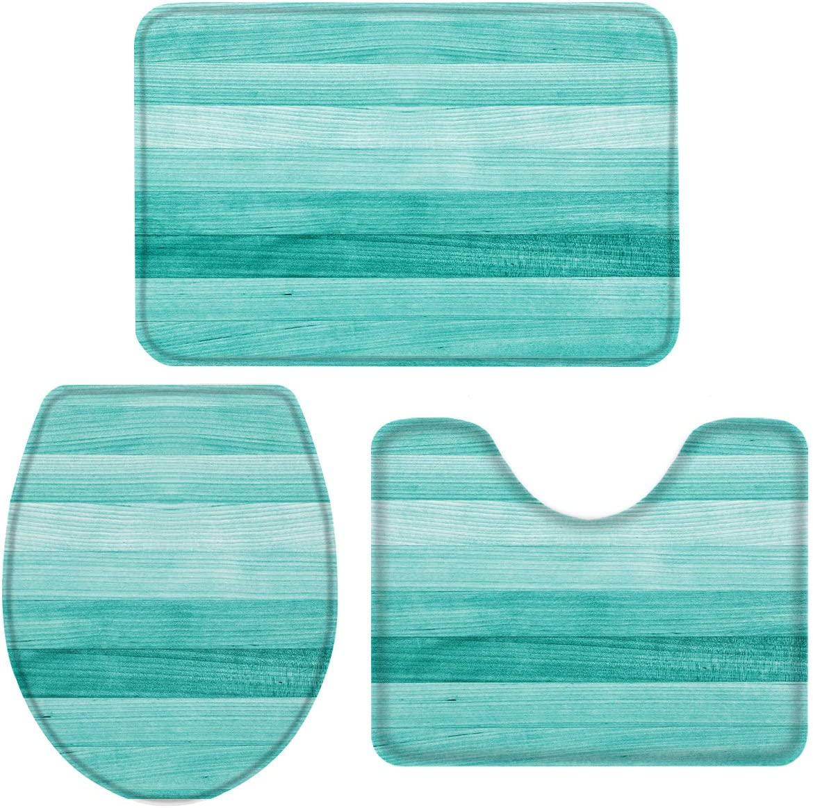 Queenker 3 Pieces Bath Rug Set Ranking TOP19 Seat Turquoise Ranking TOP12 Woode Cover Toilet