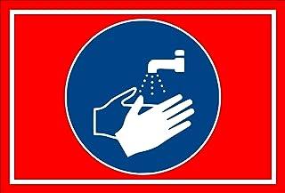 Aufkleber - Gebots-zeichen - Hände waschen - entspr. DIN ISO 7010 / ASR A1.3 – 15x10cm – S00361-021-D  in 20 Varianten