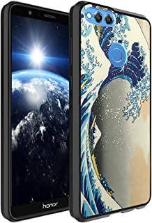 Huawei Honor 7X Case, Capsule-Case Hybrid Slim Hard Back Shield Case with Fused TPU Edge Bumper (Black) for Huawei Honor 7X - (The Great Wave Off Kanagawa)