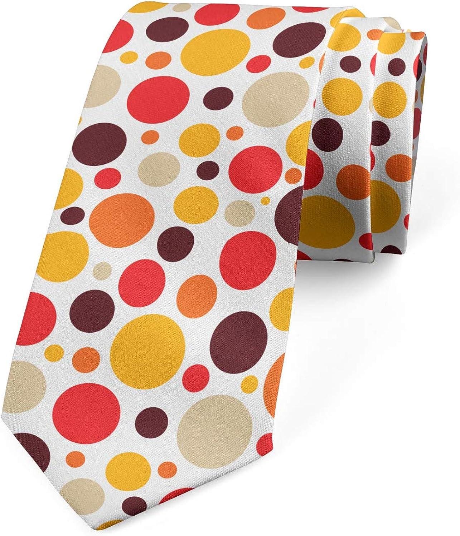 Lunarable Men's Tie, Round Ornaments Dot Pattern, Necktie, 3.7