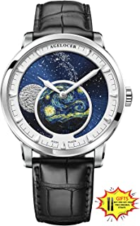Men's Watch Luxury Brand Blue Automatic Watches for Men Moon Phase Power Reserve Mechanical Watch Masculine Fashion Wrist Watch