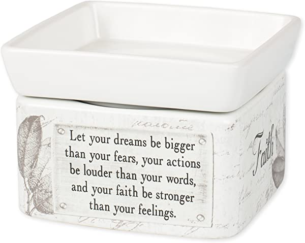 Dream Actions Faith Stronger Stoneware Electric 2 In 1 Jar Candle And Wax Tart Oil Warmer