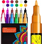 Paint Pens, RATEL 12 Colors Acrylic Paint Marker Pens for DIY Craft Projects Waterproof Permanent Paint Art Marker for Rock Painting, Ceramic, Glass,Canvas, Mug, Wood, Metal-0.7mm Fine Tip
