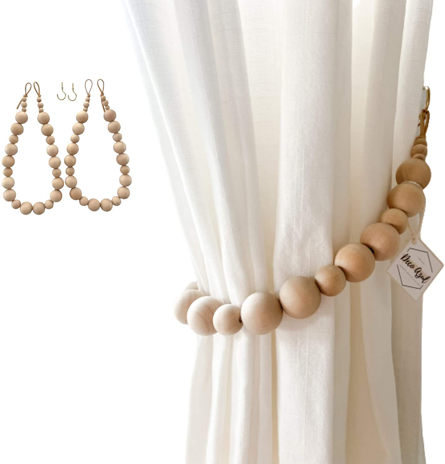 Deco Azul Curtain tiebacks│ Set of 2 Curtain holdbacks │Boho Curtain tie Backs, Farmhouse Curtain Holders for Drapes, Natural Wood Bead Curtain Ties │Brass Hooks Included: Home & Kitchen