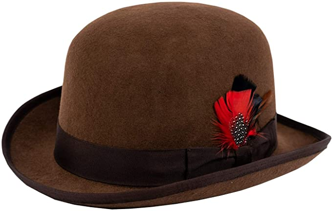 Steampunk Hats for Men | Top Hat, Bowler, Masks Different Touch 100% Wool Felt Derby Bowler with Removable Feather Fedora Hats  AT vintagedancer.com