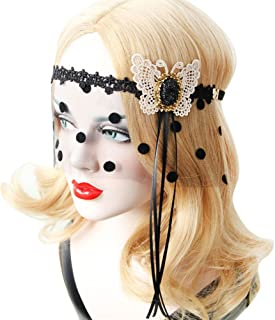 Scala New Halloween Girls Women Hot Sales Tassel Mask Black Sexy Lady Lace Mask With Red Rose Flower Cutout Eye Mask for Masquerade Party Fancy Dress Costume (Beige)