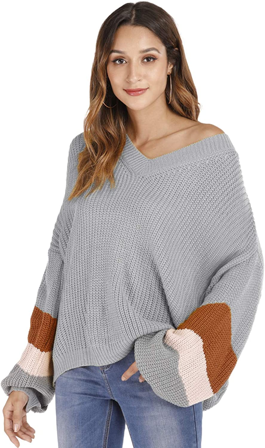 Marbetia Womens Contrast-Sleeve Striped Sleeve Loose Knitte Long Large-scale Classic sale