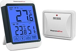 ThermoPro TP65S Termómetro Higrómetro Digital para Exterior y Interior con Gran Pantalla táctil y Retroiluminación Medidor de Temperatura y Humedad Inalámbrico con Función de Memoria