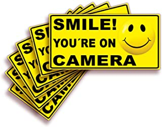 Smile You're On Camera Signs Stickers – 6 Pack 4x2 Inch – Premium Self-Adhesive Vinyl, Laminated for Ultimate UV, Weather, Scratch, Water and Fade Resistance, Indoor and Outdoor