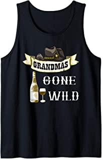 Grandmas Gone Wild Wine Glass Cowgirl Hat Alcohol Adult Tank Top