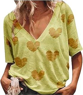VEMOW Camiseta de Mujer Manga Corta con Cuello en V, 2021 Moda Corazón Impreso Blusa Camisa Basica Camiseta Suelto Verano ...