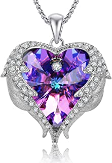 Angel Wings Heart Shaped Swarovski Crystal Pendant Necklace, Romantic Gifts for Her
