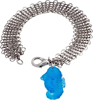 Sea Horse Sea Glass Aqua and Mesh Bracelet