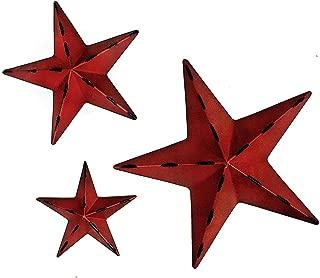Bellaa 24124 Metal Wall Stars Western Texas Decor Set 12 inch 8 inch 6 inch Red (red 24124, Medium)