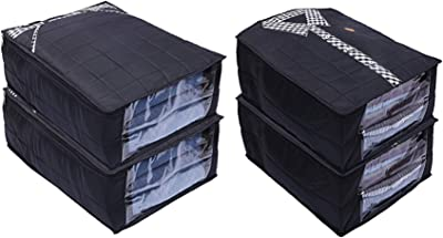 Kuber Industries Parachute Waterproof 4 Pieces Shirt and Trouser Cover Quilted/Wardrobe Organizer (Black) - CTKTC023229