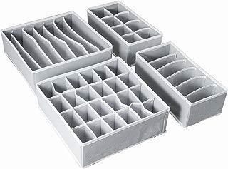 AOTUNO Closet Underwear Organizer,Foldable Storage Box Drawer Divider Kit Set of 4 (Gray)