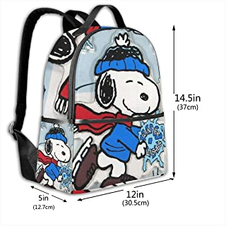 Classic School Backpack Snoopy with Snowflake Unisex College Schoolbag Travel Bookbag Black