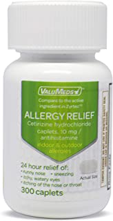 ValuMeds 24-Hour Allergy Medicine (300-Count) Antihistamine for Pollen, Hay Fever, Dry, Itchy Eyes, Allergies | Cetirizine...