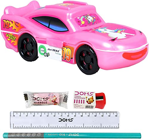 Anerideals Toy Car Style Pencil Boxes for Boys and Girls with Free Gift for Pencil, Scale Eraser and Sharpener (Yello...