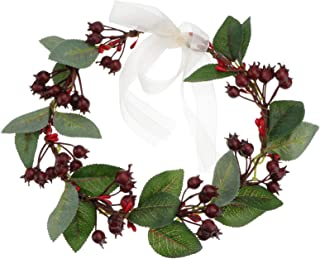 Frcolor Christmas Flower Headbands with Artificial Berry Floral Crown Wreaths Headdress for Festival (Red)