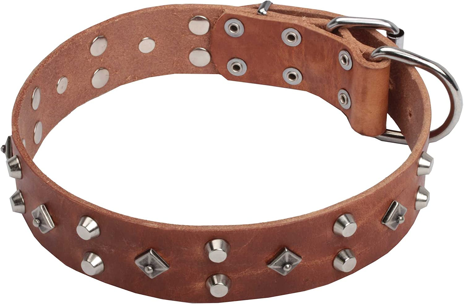 18 inch Tan Leather Dog Collar 'Pyramid of Cheops' with Silverlike Decoration  1 1 2 inch (40 mm) wide