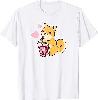 Shiba Inu Japanese Fox Dog Drinking Bubble Tea T-Shirt