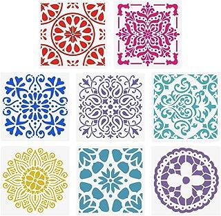 SUPVOX Plantillas de pintura Plantillas reutilizables Set ahueca hacia fuera la plantilla de dibujo de Mandala Piso Azulejo de la pared Tela de madera Plantillas 8 unids