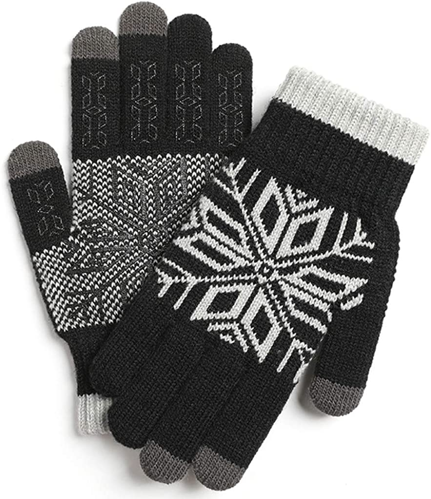 Men Winter Gloves Touchscreen Warm Thermal Gloves Snowflake Knit Stretchy Gloves Plush Lining Non-Slip Mittens